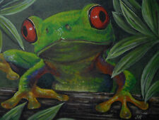 Tree Frog amphibian wildlife print of Painting