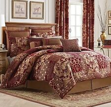 4PC CROSCILL RYLAND Red Queen Comforter Set Bedding New Shams Bedskirt Gold