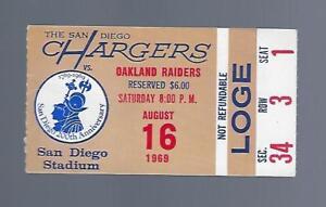 1969 AFL NFL OAKLAND RAIDERS @ SAN DIEGO CHARGERS FOOTBALL TICKET STUB - AUG 16
