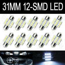 10X Super White 31MM 12 SMD LED Festoon Dome Map Interior Light Bulb 3022 DE3175