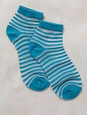 Anthropologie Socks Women's Tintoretta Sheer Socks Teal White Stripes $24.00