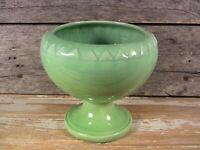 Vintage Mid Century Ceramics Haeger Pottery Green Pedestal Vase Bowl 1950s 60s