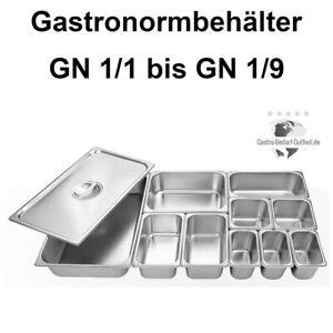 GN Behälter GastroNorm Edelstahl Gastronomiebehälter 1/1 1/2 1/3 1/4 1/6 1/9