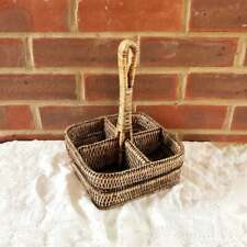 Vintage Wicker Condiment Bottles Holder Carrier Tools Organiser Flatware Basket