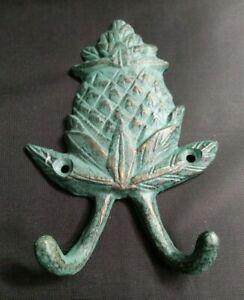 Nautical Key Robe Verdigris Pineapple Double Wall Hook Tropical Beach House