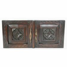 Splendid Pair of French Antique Neo-Gothic Carved Chestnut Cabinet Doors w/ Key!