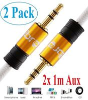 1M - 2PACK 3.5mm Jack Plug To Plug Male Cable - Audio Lead For Headphone/Aux/MP3