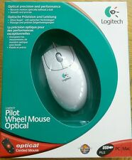 WHITE LOGITECH PILOT WHEEL OPTICAL CORDED MOUSE  USB PS/2 PC MAC