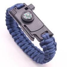 Compass Flint Fire Starter Whistle Scraper Gear Kits Paracord Survival Bracelet