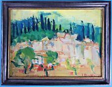 Neoexpressionismus Gemälde Landschaft Häuser Irene Battaille Schilde Belgien ~50