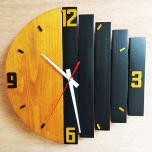 Clock Wall Wooden Vintage Decoration Home Rustic Shabby Quiet Art Watch Gift New