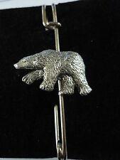 """Polar Bear codea08 Scarf and Kilt Pin Pewter 3"""" 7.5 cm"""