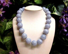 Vintage 14K GF Chinese Blue Lace Agate Beaded Necklace - 20mm HUGE BEADS!!