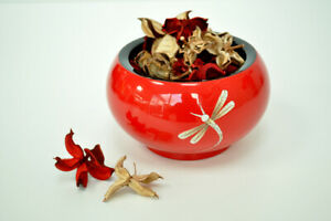 Decorative Handmade Lacquered Eggshell Inlaid Wooden Round Bowl Jar Red H041L