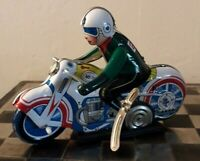 Repro Clockwork Tin Plate Motorcycle MS-702 With Green Shirt Rider & Keys GWO