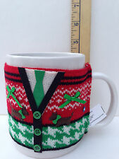 Christmas Ceramic Coffee Hot Coco Mug Knit Sweater Buttons Large Clay Art Rare