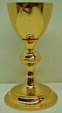 """Nice 7 1/2"""" GOLD PLATED CHALICE - with STERLING SILVER CUP #437 -(CHURCH GOBLET)"""