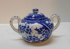Sugar Bowl with Cherry Blossoms Blue and White Porcelain Chinese Signed