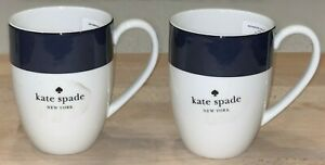 New Kate Spade Lenox Rutherford Circle Navy Blue/White Coffee Mugs Cups Set of 2