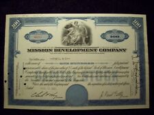 MISSION DEVELOPMENT COMPANY STOCK CERTIFICATE J PAUL GETTY SIGNATURE