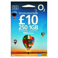 O2 Sim Cards, Pay As You Go, INCLUSIVE MINUTES TO UK & INTERNATIONAL NUMBERS
