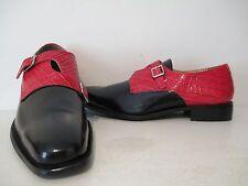 Giorgio Brutini Mens Helm 20010 Criss Cross Monk Strap Shoes Black/ Red Sz 8.5 M