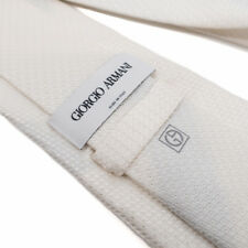 Giorgio Armani - 100% Silk Tie - Made in Italy - Luxury Champagne White Wedding