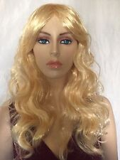 New Women's Fashion Long Curly Wavy Golden Blonde Wig