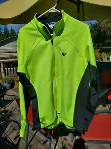 PEARL IZUMI Select Mens XL Thermal Full Zip cycling Jacket Yellow Fleece Lined