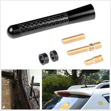 "Universal 3.14"" 80mm Black Carbon Fiber Screw Aluminum Car Short Antenna JDM"