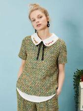 Sister Jane 'moses' tweed shirt top - green