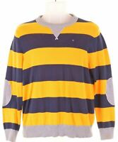 TOMMY HILFIGER Boys Jumper Sweater 15-16 Years Large Yellow Striped Cotton  NG07