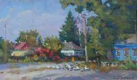 Original Village Street at Spring Landscape Oil Painting Impressionism ART