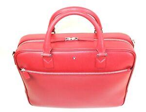 Montblanc 113632 Sartorial Medium Doc Case in Red Saffiano Calfskin Leather