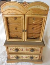 Jewelry Chest Box Wood sewing trinket Barbie Armoir florentine velvet drawers