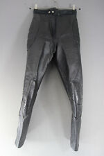 VINTAGE BLACK LEATHER BIKER TROUSERS: WAIST 26 INCHES/INSIDE LEG 28 INCHES