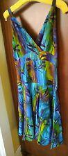 Vintage Jewels of Java Batik DragonFly Rayon Festival Tie Dye Sun Dress sz M