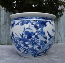 Finest Large Antique Chinese Blue & White Jardiniere Fish Bowl - Bird Decoration