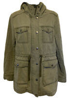 BP Nordstrom Army Green Utility Jacket Hoodie Women's Size Small Full Zip Button