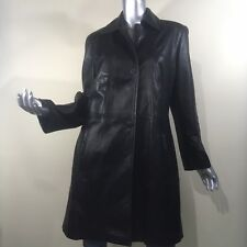 Vericci Women's Black Super Soft Leather Button Trench Coat Jacket Small USA