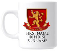 Personalised Lannister Sigil Game of Thrones Mug Coffee Cup - Birthday Gift