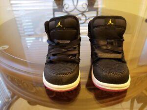 Nike Air Jordan 1 Girls Desert Black Pink 364773-008 Size 6C