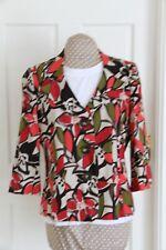 Colourful size 14 Beige multi linen blend short jacket 3/4 sleeve hardly worn