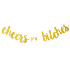 cheers bitches banner gold glitter party supplies bachelorette party decor HV