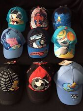 NEW BOYS OFFICIAL CHARACTER SUN HATS/CAPS MICKEY OLAF BART PEPPA SPIDERMAN SONIC