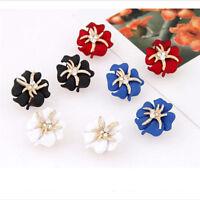 Women Lady Elegant Flower Charm Crystal Rhinestone Ear Stud Earrings Hot