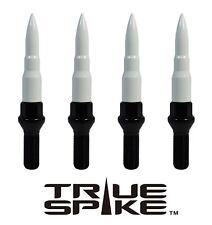 20 TRUE SPIKE 14X1.5MM 40MM SHANK STEEL LUG NUT BOLTS W/ WHITE BULLET SPIKES