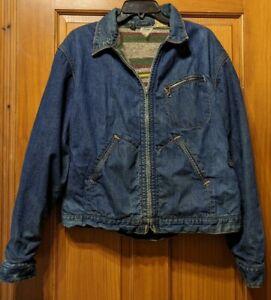 Vintage Distressed Key Imperial Denim Jean Jacket Sanforized Lined USA