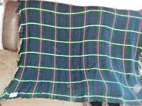 Vtg Troy Robe Wool Plaid Throw Blanket/Lap/Stadium  Fringed Tartan Green Blue