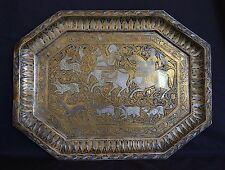 SUPERB ANTIQUE SIGNED BRASS AND SILVER  PERSIAN TRAY HUNTING SCENE